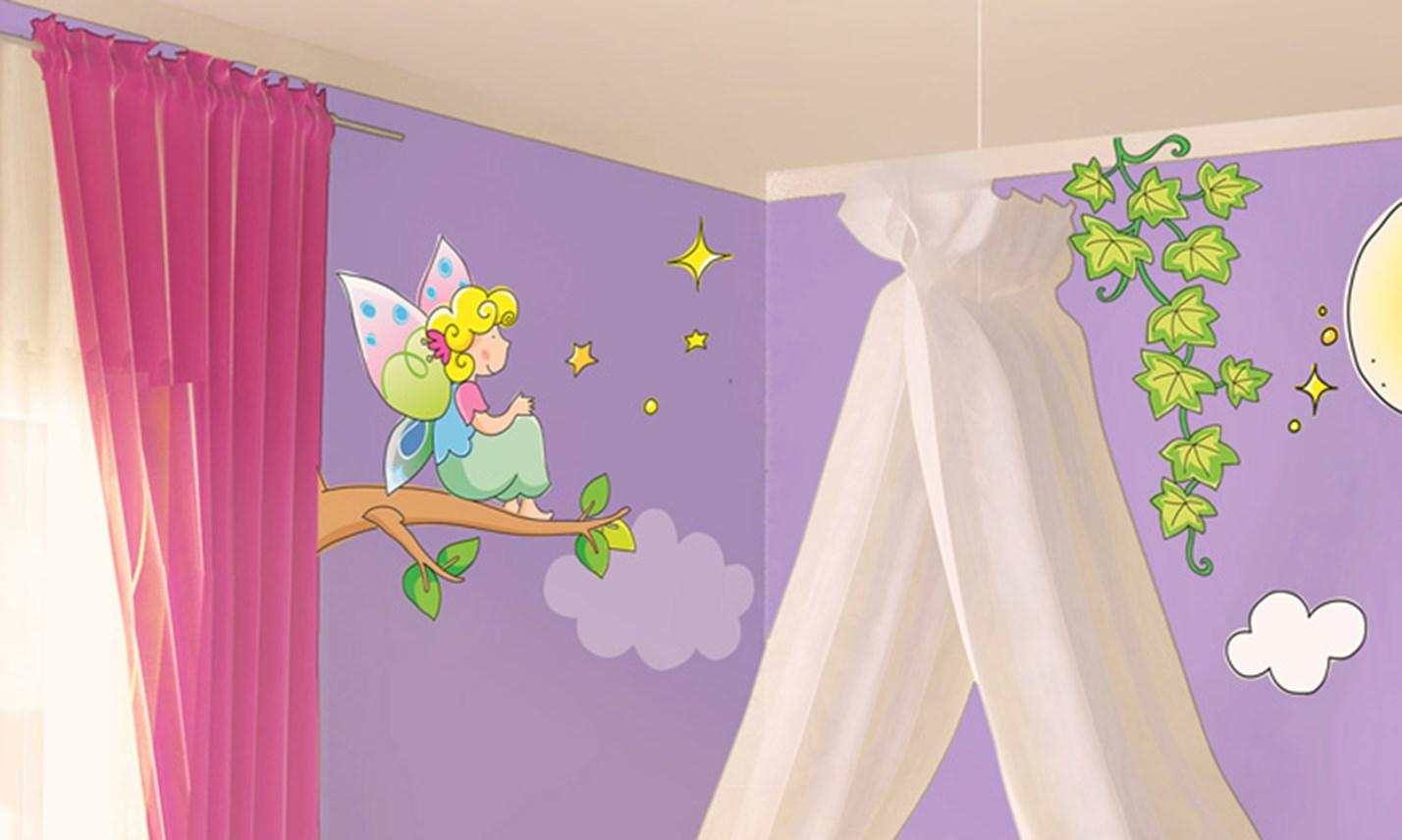Stickers murali bambini cameretta le fatine dei fiori - Adesivi per mobili bambini ...
